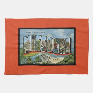 Bunter Retro Staat der Missouri-Schriftart-Grüße Handtuch