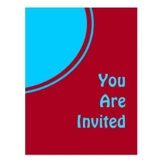 Bunter roter Türkis-Retro Party laden ein Postkarte