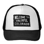 Bunter schwarzer Willkommensschild Colorados Retrokappen