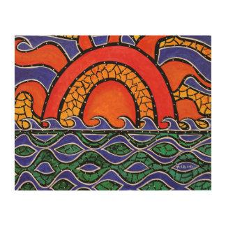 Bunter Sonnenuntergang-abstrakte Ozean-Malerei Holzwanddeko