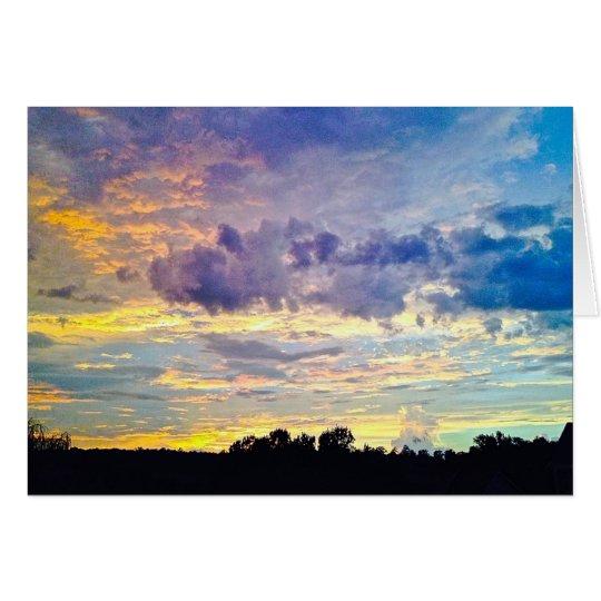 Bunter Sonnenuntergang Grußkarte
