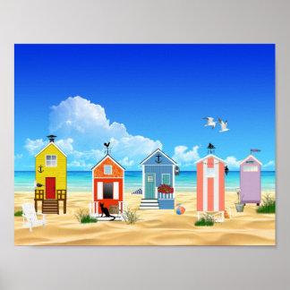 Bunter Strand-Sommer-Spaß Poster