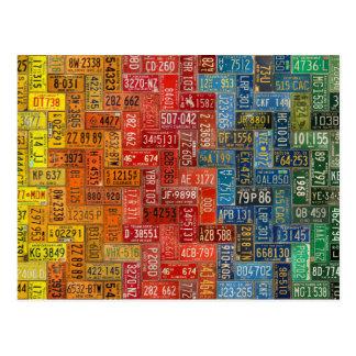 Bunter Teller von allen 50 Staaten Postkarte