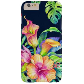 Bunter tropischer Blumen-Blumenstrauß-Entwurf GR3 Barely There iPhone 6 Plus Hülle