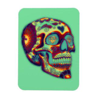 Bunter verzierter Schädel auf Grün Magnet
