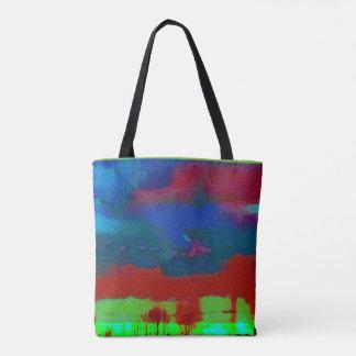 Bunter vibrierender abstrakter Horizont-Himmel Tasche