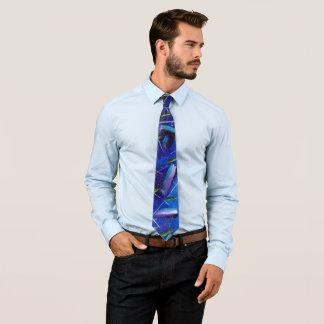 Buntes abstraktes blaues handgemaltes Trendy Boho Krawatte