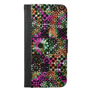 Buntes abstraktes Blumen-Muster iPhone 6/6s Plus Geldbeutel Hülle