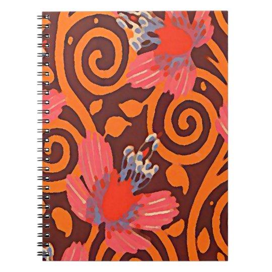 Buntes abstraktes Brown wirbelt rosa Spiral Notizblock
