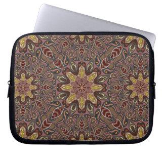 Buntes abstraktes ethnisches Blumenmandalamusterde Laptop Sleeve