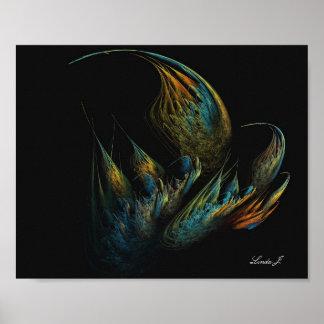Buntes abstraktes Fraktal auf schwarzem Poster