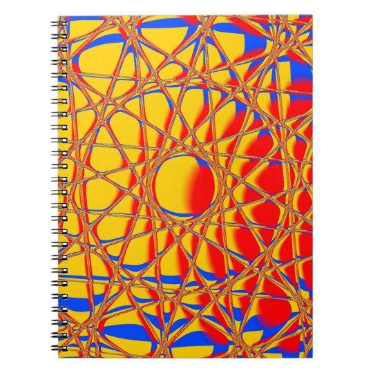 Buntes abstraktes grafisches Orange und blau Spiral Notizblock