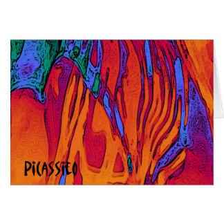 Buntes abstraktes Kunst-Anmerkungs-Karten-Feuer Mitteilungskarte