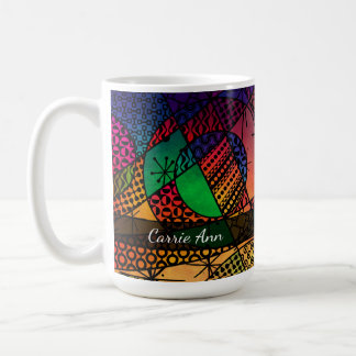 Buntes abstraktes mit Beschaffenheiten, Mustern u. Kaffeetasse