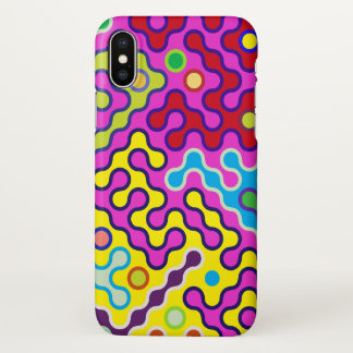 Buntes abstraktes psychedelisches Pop-Kunst-Muster iPhone X Hülle