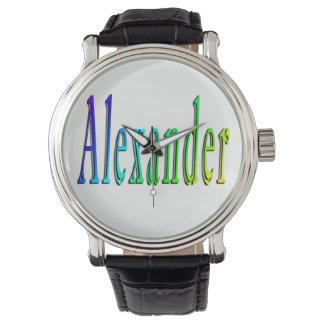 Buntes Alexandernamenslogo, Uhr