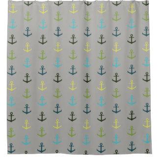 Buntes Ankermuster auf stripy Hintergrund Duschvorhang