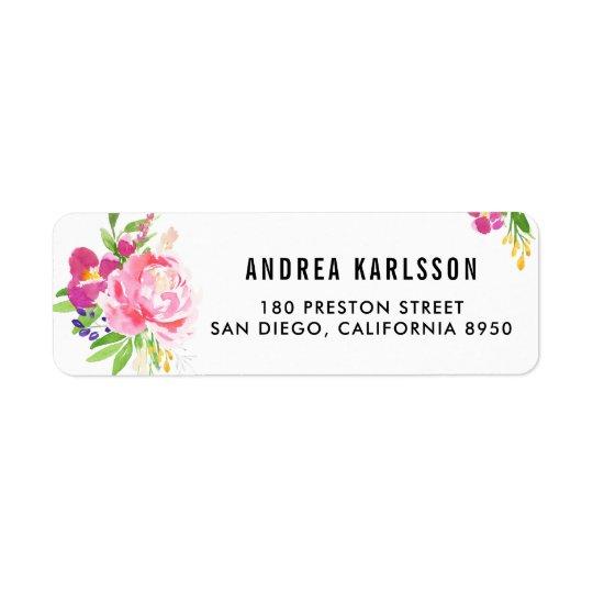 Buntes Aquarell-Frühlings-Blüten-Adressen-Etikett