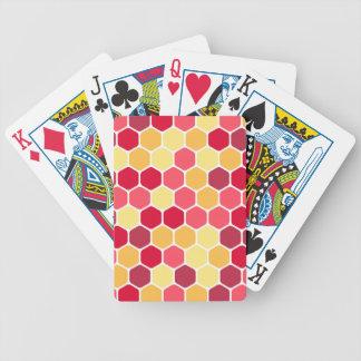 Buntes Bienenwaben-Hexagon-Muster Spielkarten