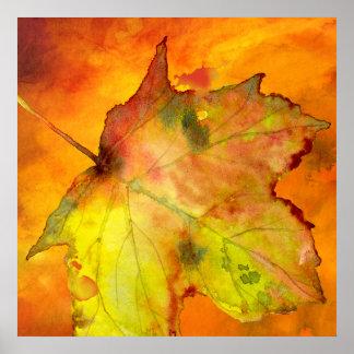Buntes Blatt-Aquarell des Herbstes durch Ozias. Poster