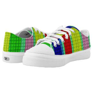 Buntes Blockmuster Niedrig-geschnittene Sneaker