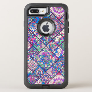 Buntes böhmisches Mandala-Patchwork OtterBox Defender iPhone 7 Plus Hülle