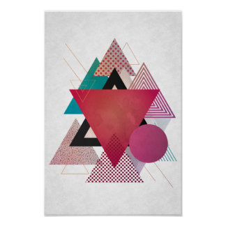 Buntes Dreieckgeometrieplakat Poster
