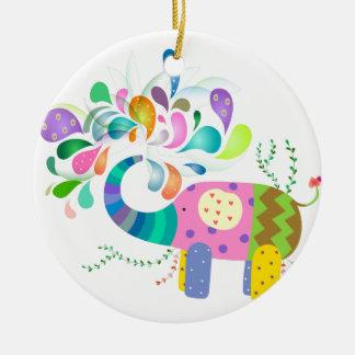 Buntes Elefant-Spritzen Keramik Ornament
