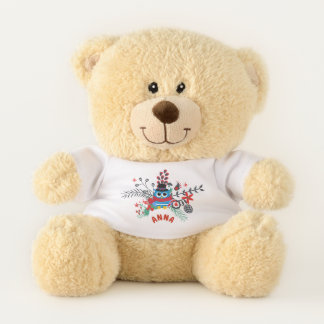 Buntes Eulen-Blumenstrauß-Monogramm Teddybär