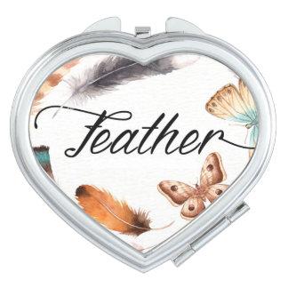 Buntes Feder-Schmetterlings-Aquarell Taschenspiegel