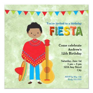 Buntes Fiesta-Kindergeburtstag-Party Quadratische 13,3 Cm Einladungskarte