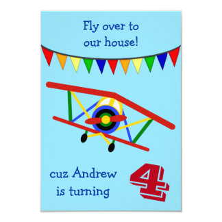 Buntes Flugzeug-Kindergeburtstag-Party Karte