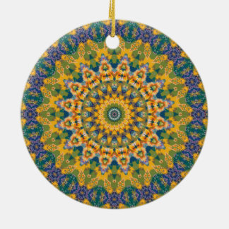 Buntes gelbes und blaues Mandala-Kaleidoskop Keramik Ornament