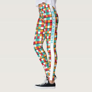 Buntes geometrisches Block-Permutations-Muster Leggings