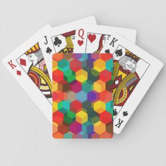 Buntes Hexagon-Muster Pokerkarten
