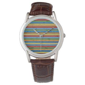 Buntes Holz Stripes Bild - Uhr