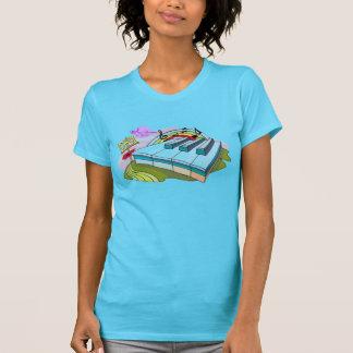 Buntes Klavier befestigt Türkis-feinen Jersey-T - T-Shirt