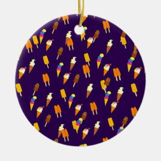 Buntes kleines Eiscreme-Muster-dunkles Lila Keramik Ornament