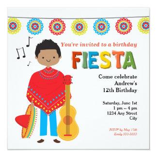 Buntes mexikanisches Fiesta-Kindergeburtstag-Party Quadratische 13,3 Cm Einladungskarte