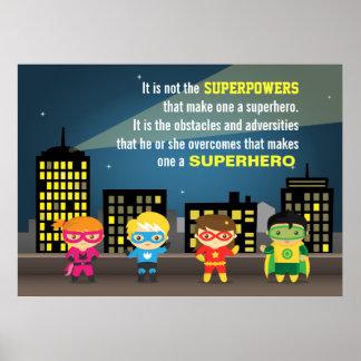 Buntes Motivierungs-Superheld-Zitat für Kinderraum Poster