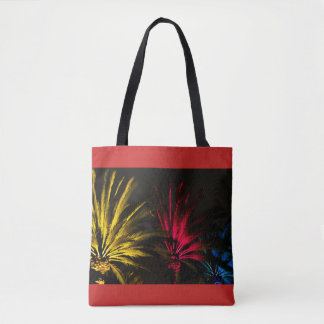 Buntes Nachtwüsten-Palme-rotes gelbes Schwarzes Tasche
