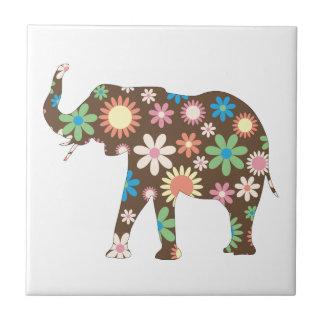 Buntes niedliches der Elefantfunky retro BlumenBlu Kleine Quadratische Fliese