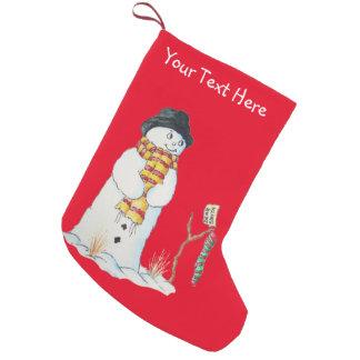 buntes Patchworkgewebe mit niedlichem Snowmanspaß Kleiner Weihnachtsstrumpf