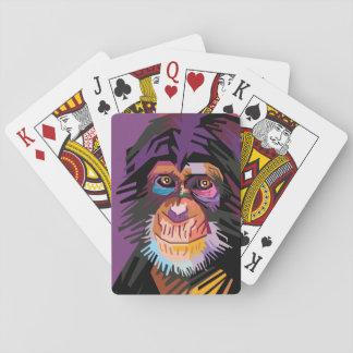 Buntes Pop-Kunst-Affe-Porträt Spielkarten