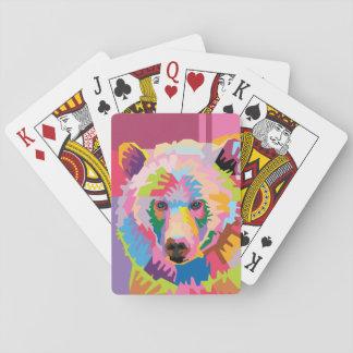 Buntes Pop-Kunst-Bärn-Porträt Spielkarten