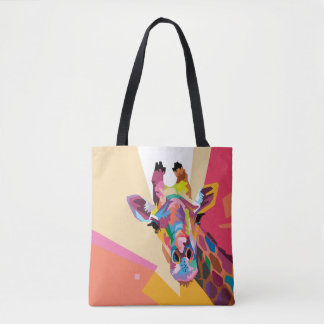 Buntes Pop-Kunst-Giraffen-Porträt Tasche