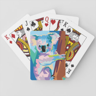 Buntes Pop-Kunst-Koala-Porträt Spielkarten
