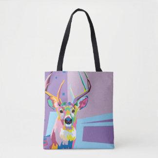 Buntes Pop-Kunst-Rotwild-Porträt Tasche