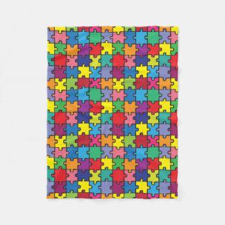 Buntes Puzzlespiel-Muster-Autismus-Bewusstsein Fleecedecke