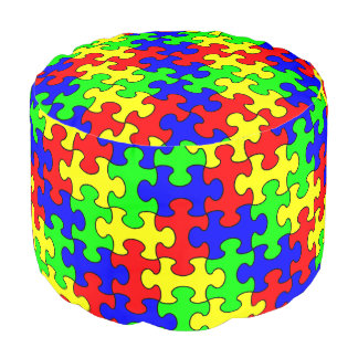 Buntes Puzzlespiel-runder Puff Hocker